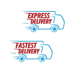 Express Delivery, Fastest Delivery Vector iCon set Isolated White Background.