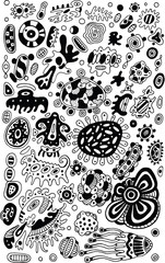 Tribal ethnic doodle abstract background. Coloring page for adul