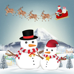 snowman and santa claus in winter village