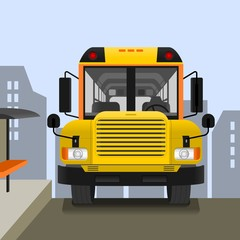 Editable School Bus on Road Vector Illustration with Cityscape Background