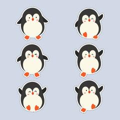 cute sticker with cute penguin