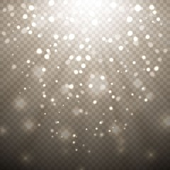 Golden Confetti Glitters. Vector Festive Illustration of Falling Shiny Particles And Stars