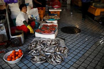 A shopkeeper waits for a customer at the Sokcho Central Market in Sokcho