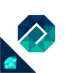 Icon logo with a diamond / polygonal concept with combination of initials letter A (lowercase)