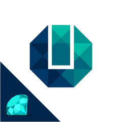Icon logo with a diamond / polygonal concept with combination of initials letter U & I
