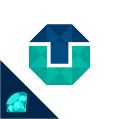 Icon logo with a diamond / polygonal concept with combination of initials letter T & U