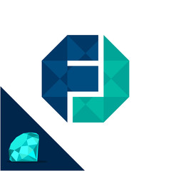 Icon logo with a diamond / polygonal concept with combination of initials letter F & J