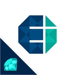 Icon logo with a diamond / polygonal concept with combination of initials letter E & I