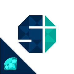Icon logo with a diamond / polygonal concept with combination of initials letter S & I