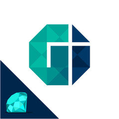 Icon logo with a diamond / polygonal concept with combination of initials letter G & I