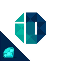 Icon logo with a diamond / polygonal concept with combination of initials letter I & D