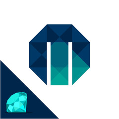 Icon logo with a diamond / polygonal concept with combination of initials letter M