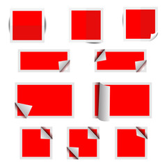 Red paper square stickers with shadows