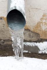 ice in a drainpipe