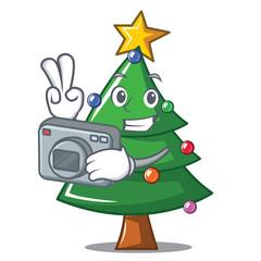 Photographer Christmas tree character cartoon