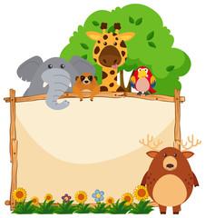 Wooden frame with wild animals in garden