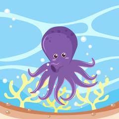 Purple octopus in the ocean