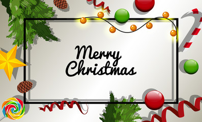 Christmas card template with many christmas ornaments