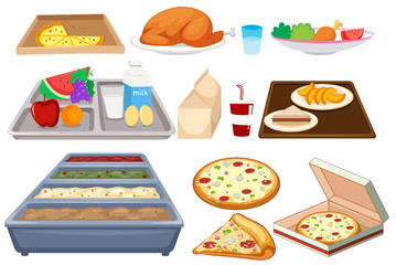 Different types of food on whtie background