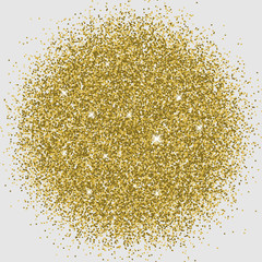 Particle explosion effect. Golden glitter texture. Space implosion