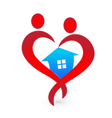 House and heart shape figures logo vector icon