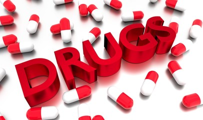 Medication capsules around Drugs 3D text