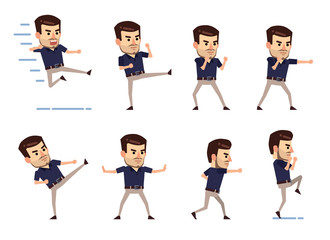 Set of stylish businessman characters showing different battle poses. Man fighting, kicking, jumping, attacking and showing other actions. Flat style vector illustration