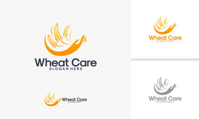 Wheat Care logo designs vector, Wheat logo template