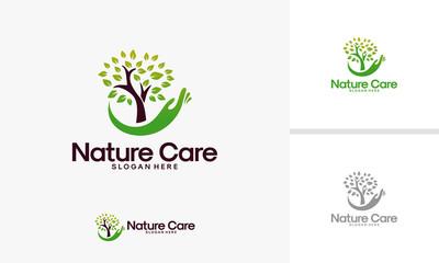 Nature Care logo designs vector, Go Green logo template