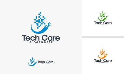 Technology Service logo designs vector, Tech Care logo template