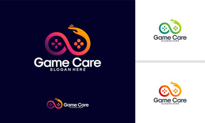 Game Care logo designs vector, Infinity Game Service logo template