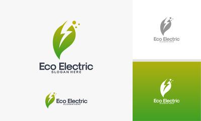 Eco Electricity logo template, Nature Electricity logo designs vector
