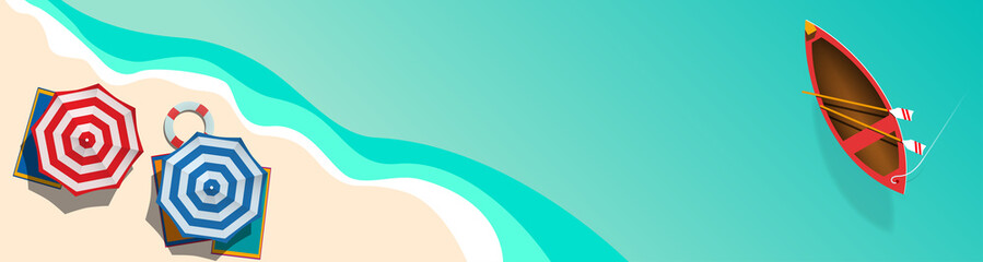 Fotorolgordijn Groene koraal banner Summer concept, vector background. Beach and sea with umbrella and boat, view from above