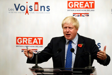 Britain's Foreign Secretary Boris Johnson gives a speech at the British Embassy during his European tour on Brexit, in Paris