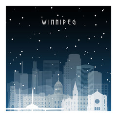 Winter night in Winnipeg. Night city in flat style for banner, poster, illustration, background.