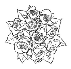 Roses line art 05. Good use for symbol, logo, web icon, mascot, sign, coloring, or any design you want.