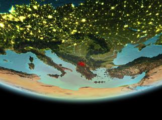 Kosovo at night on Earth