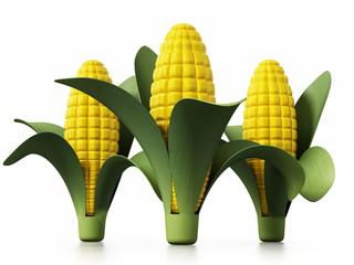Fresh corns isolated on white background. 3D illustration