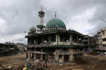 A damaged mosque is seen in Marawi city