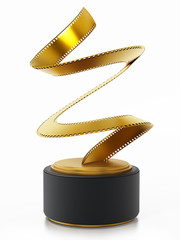 Golden film strip movie award. 3D illustration