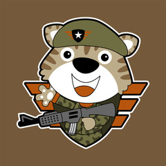 vector cartoon of funny soldier with rifle