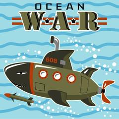 vector cartoon of submarine