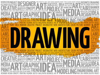 DRAWING word cloud collage, creative concept background