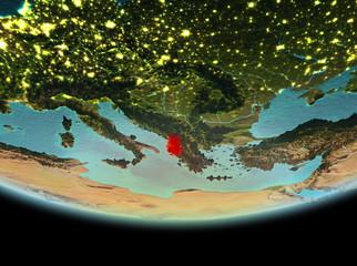 Albania at night on Earth