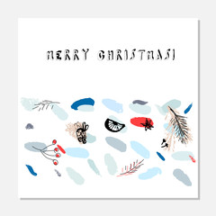 Merry Christmas Unusual Trendy Cards collection. Creative hand drawn textures. Contemporary art. Cute design for greeting card, invitations, covers, posters, headers, banners, postcards
