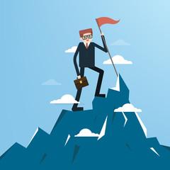 businessman holding a success flag on mountain. Concept business illustration. Vector Illustration.