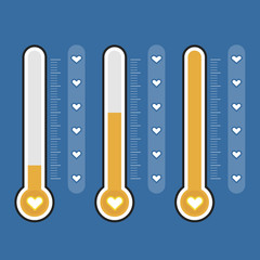 Set of thermometers icons. Vector illustration