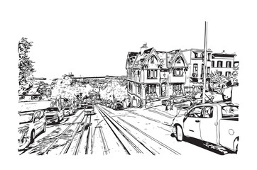 Sketch of San Fransisco city Road, California, USA in vector illustration.