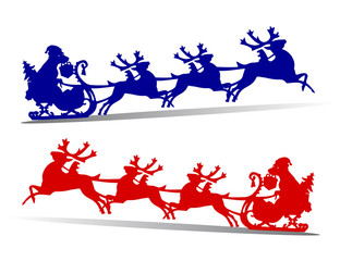 Happy dog in sleigh rushing fast for the new year, harnessed in deer, silhouette on white background,