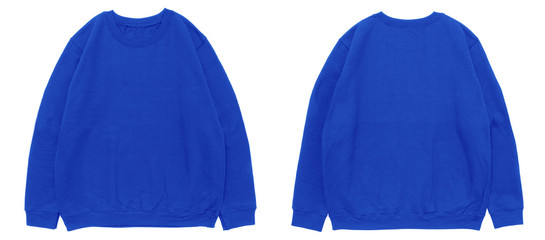 Blank sweatshirt color blue template front and back view on white background